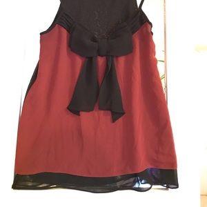 Bisou Bisou red & black bow tank top